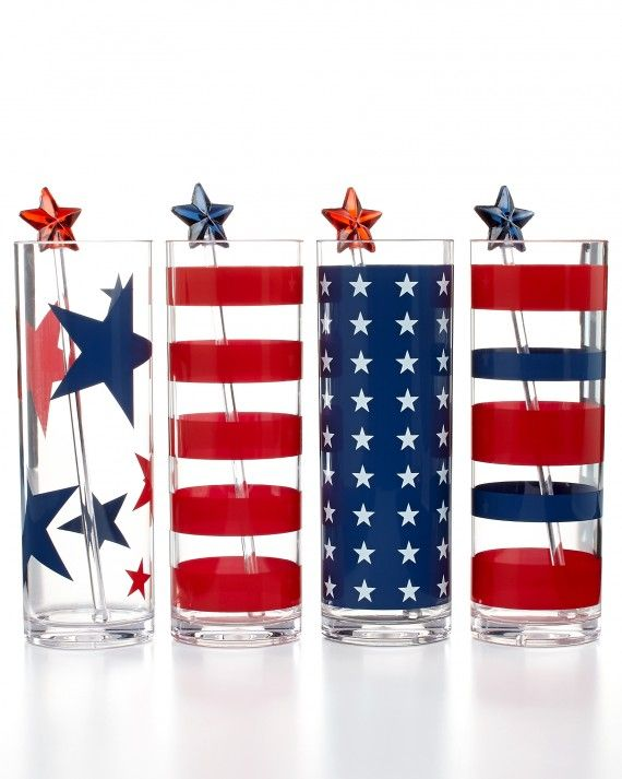 These star-spangled acrylic highball glasses will fit right into your all-American soiree. Martha Stewart Collection Star-Spangled acrylic 8-piece beverage set, $16.99; Macy's.