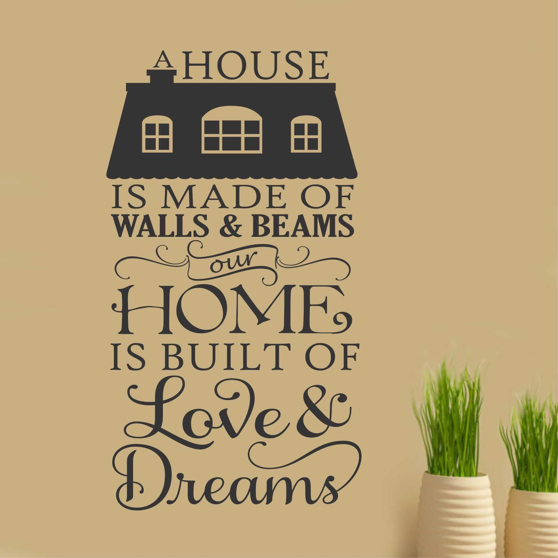 Home built of love decal vinyl wall lettering wall for Self adhesive letters for walls