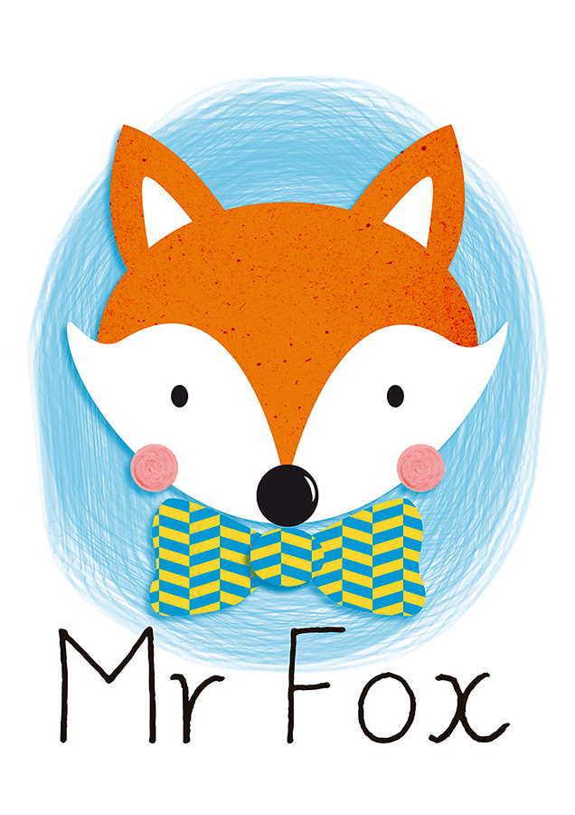L mina mr fox l minas decorativas l minas cuadros for Laminas cuadros infantiles
