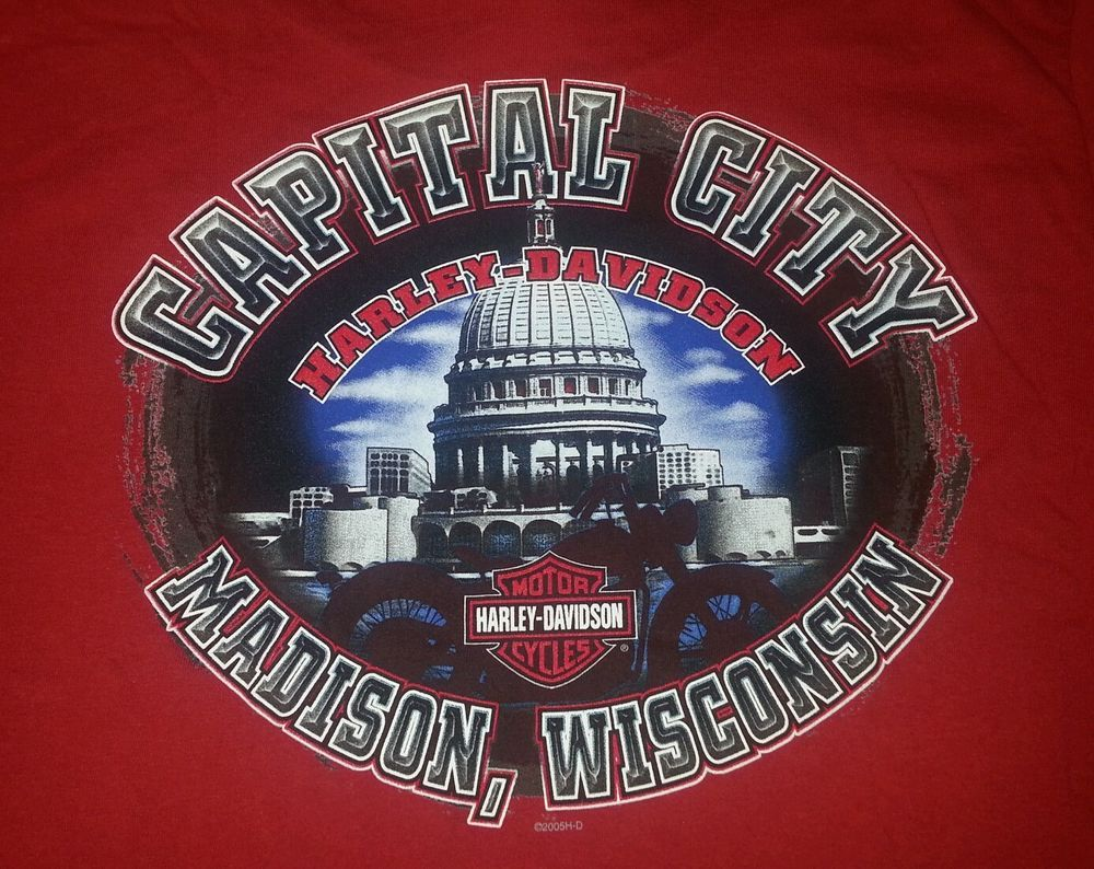 harley davidson motorcycles men's t-shirt l red madison wi