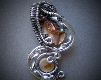 Necklace Pendant - Mother of Pearl focal stone wrapped in Black and Silver Aluminum