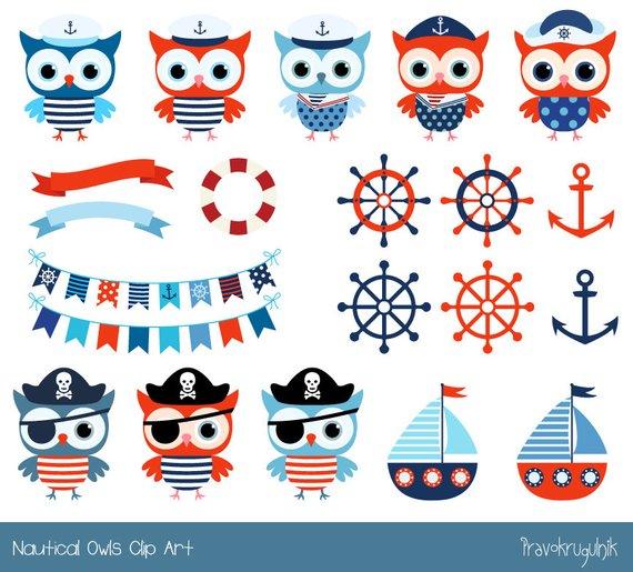 Cute Nautical Owl Clipart Sailor Owl Clip Art Pirate Boy Etsy Owl Clip Art Clip Art Clip Art Vintage