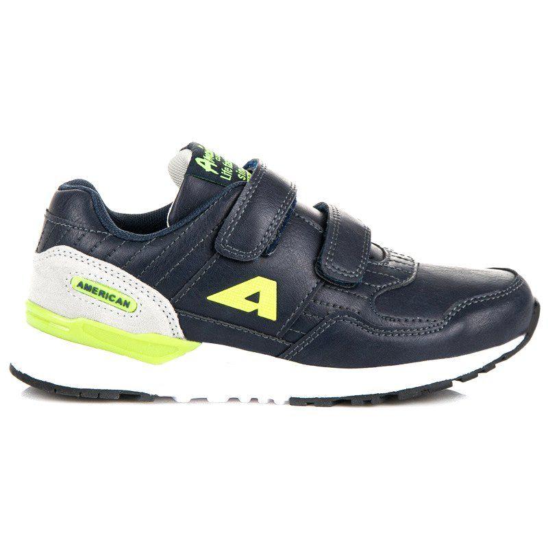 Buty Sportowe Dzieciece Dla Dzieci Americanclub Niebieskie Obuwie Na Rzepy American Club Sneakers Shoes New Balance Sneaker