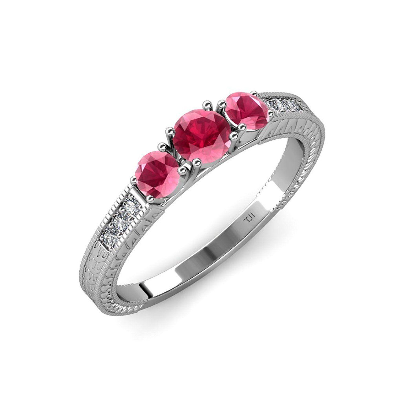 be3b519371124 Rhodolite Garnet Milgrain Work 3 Stone Ring with Diamond on Side Bar ...