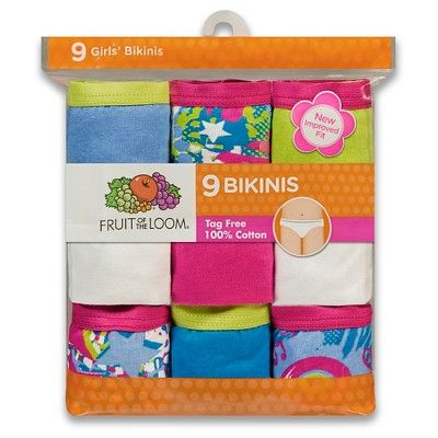 71545e42ca Fruit Of The Loom Girls 9-pack Bikini Underwear - Assorted Colors 10 ...