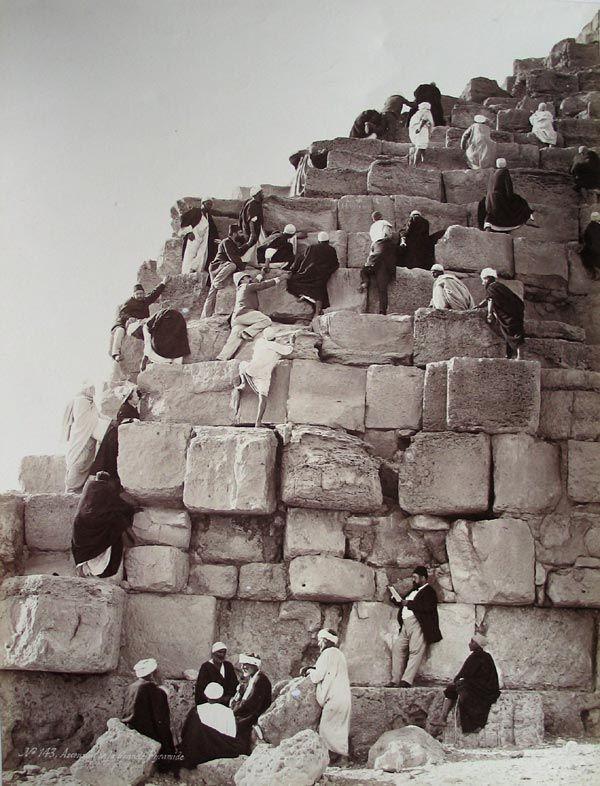 Climbing the Great Pyramid of Khufu by Henri Béchard, ca.1875