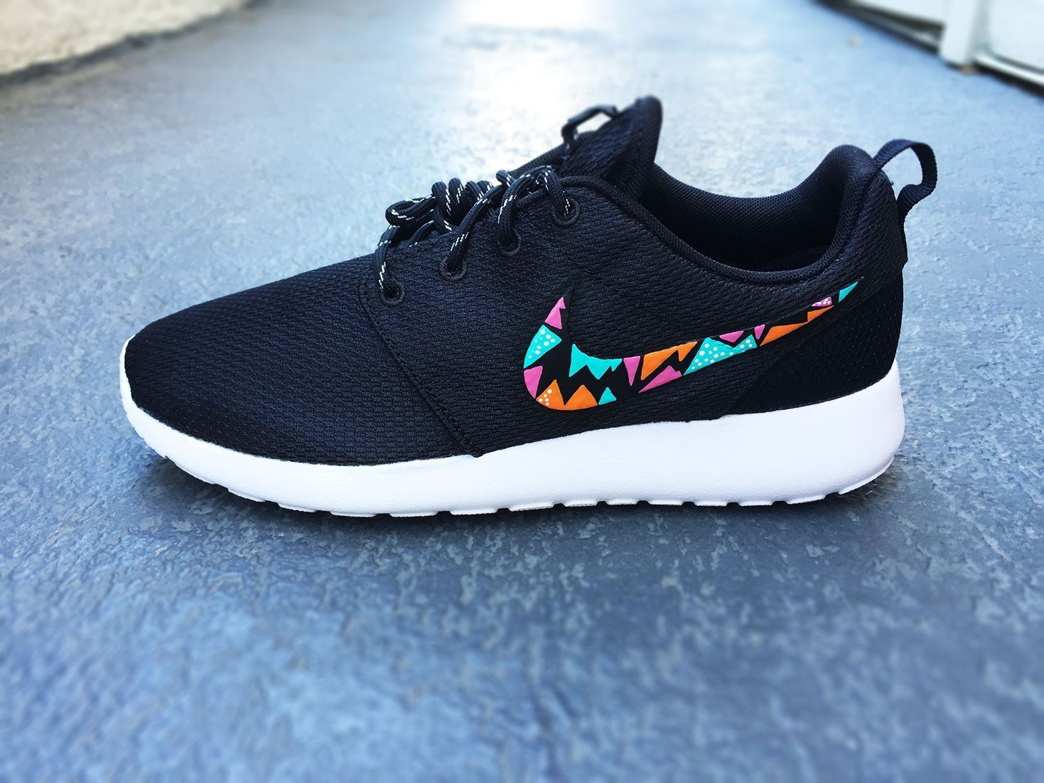 low priced 509f2 2ff49 Womens Custom Nike Roshe Run sneakers, triangle tribal design, hot pink,  teal and orange, trendy fashion design, cute womens shoes