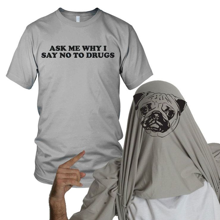 Pugs Not Drugs Flip Up Tee - this is the funniest thing ever