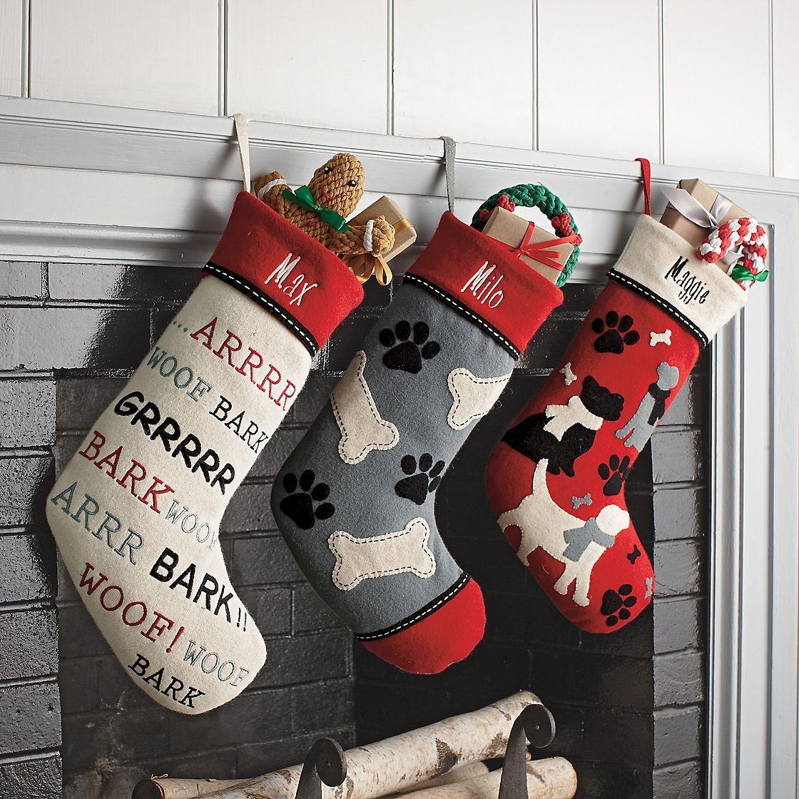 Felt Dog Stockings 25 on sale for seventeen dollars