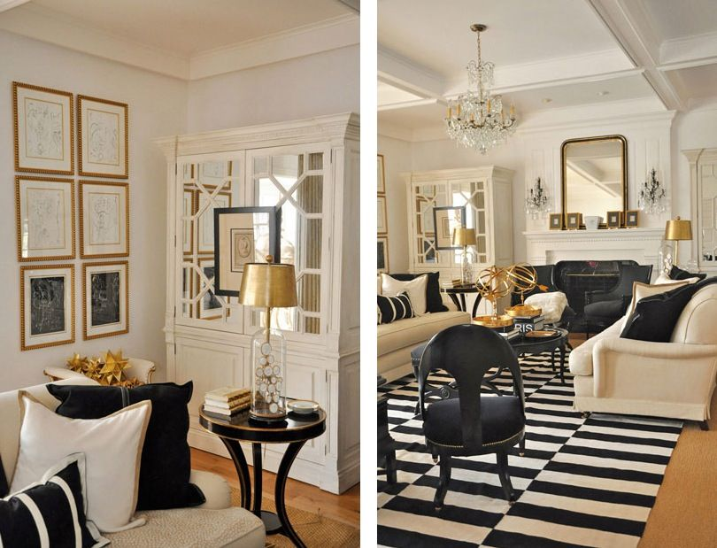 Nice White Gold Black Living Room Detail Art Frames On Mirrored Cabinets. Part 6