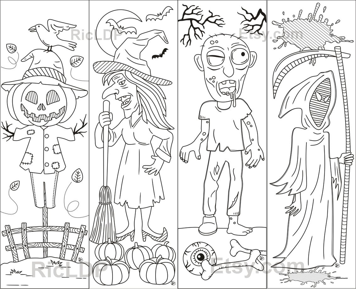 Set of 8 Coloring Bookmarks for Halloween Creepy