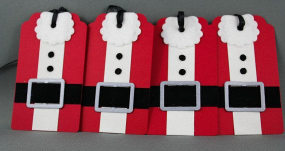 Santa Suit Christmas Tags  Handmade Gift Tags  Set of by TrioCards, $4.00 #buyhandmade