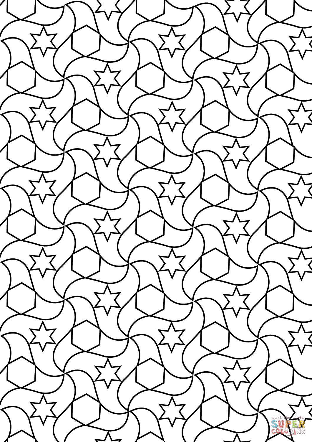 Uncategorized Islamic Art Coloring Pages alhambra tessellations coloring page free printable art cultureislamic pages pattern islamic with array x