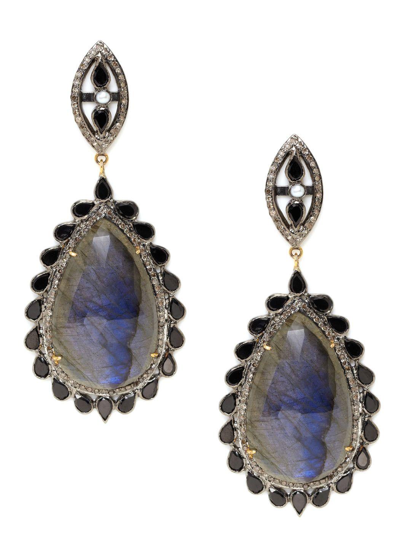 Diamond, Onyx, & Labradorite Teardrop Earrings by Karma Jewels at Gilt