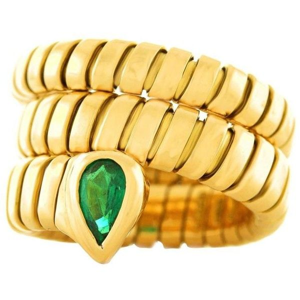 preowned bulgari serpenti gold emerald tubogas ring 5 115 aud liked on polyvore
