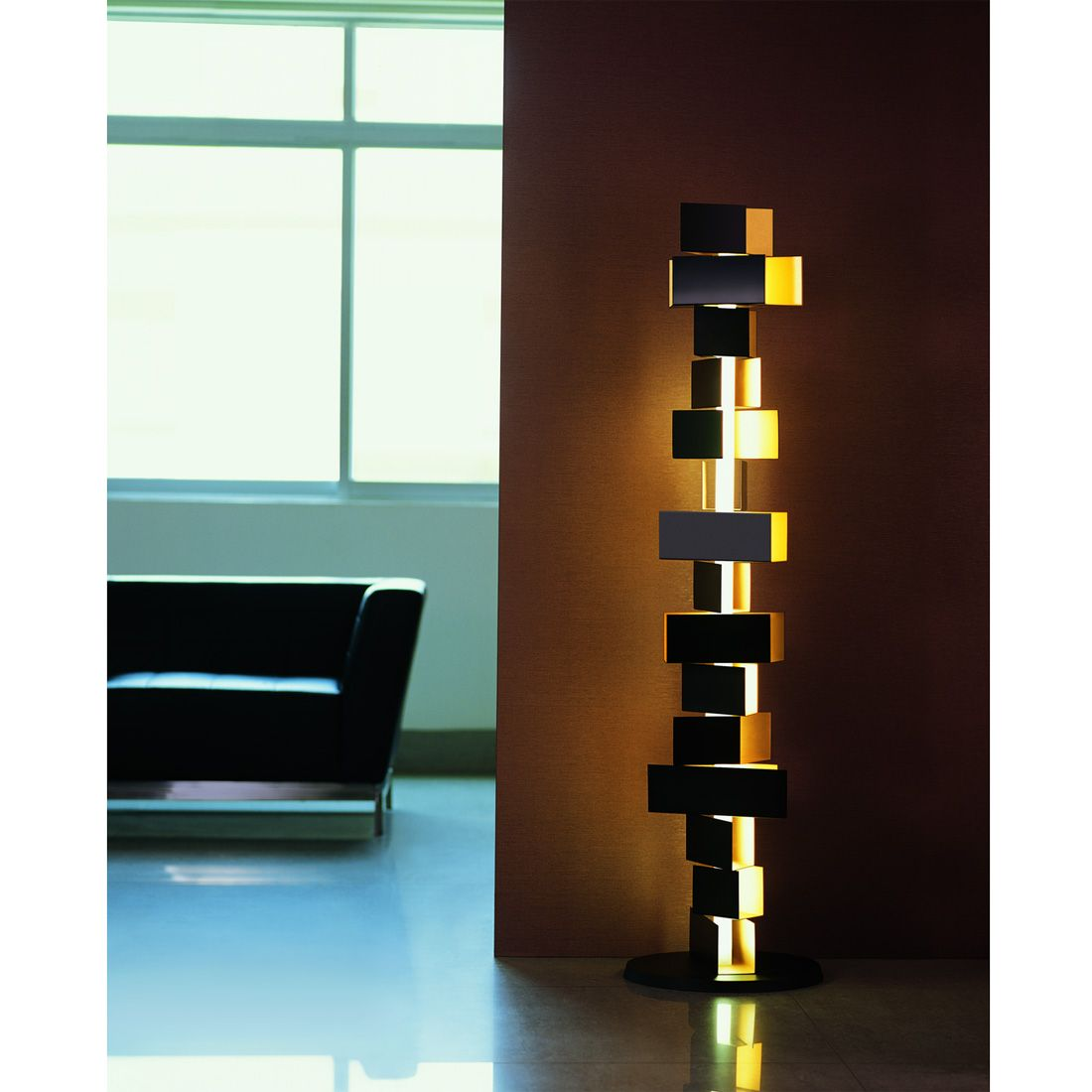 Gemma stacked block tall floor lamp contemporary for Modern contemporary floor lamp