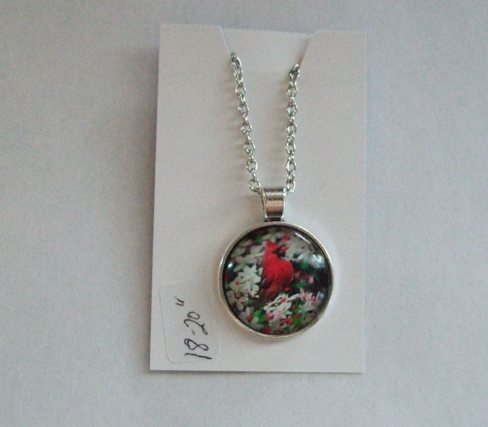 necklace cardinal art red handcrafted bird glass pendant product sterling silver
