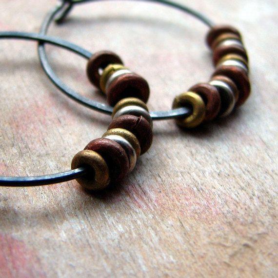 Hammered sterling silver hoop earrings with recycled metal beads tribal rustic earrings - Elemental. $24.00, via Etsy.