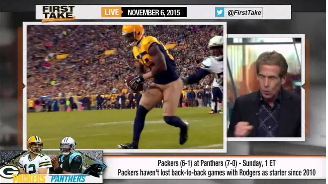 Espn First Take Panthers Vs Packers Cam Newton Vs Aaron Rodgers Panthers Aaron Rodgers Espn