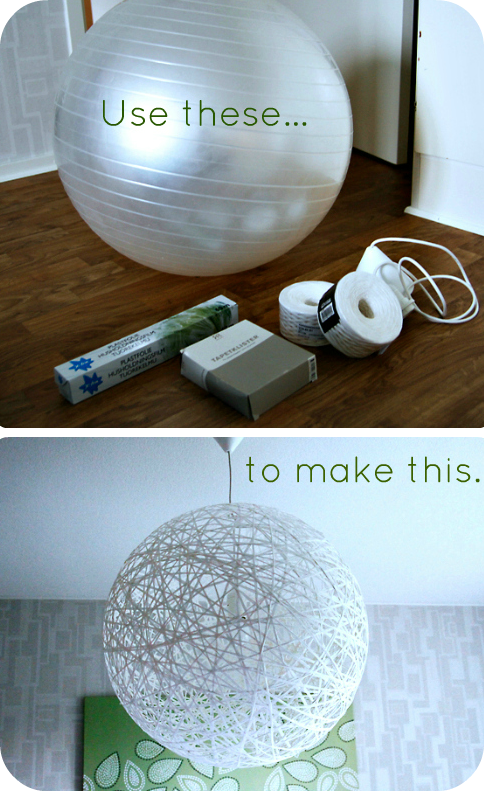 Cool DIY Ball String Light Paint Like A Globe Or Another Planet - Diy cloud like yarn lampshade