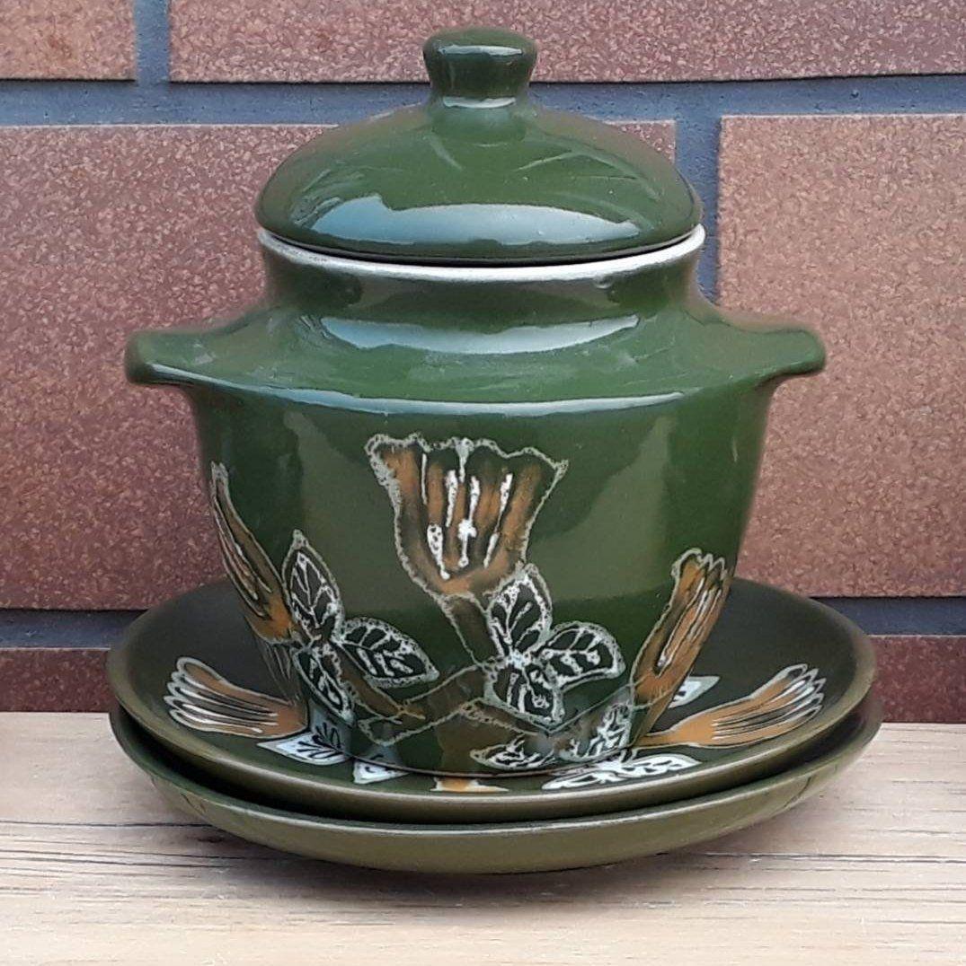 Ceramic Bean Pot With 2 Plates Vintage Pottery Ceramic Green Pot With Lid Vintage Pottery Ceramics Bean Pot