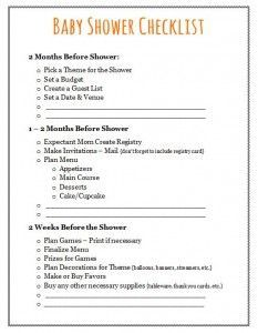 baby shower to do list template