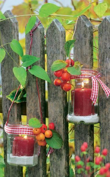 Nat rlicher charme ein holzzaun f r den garten deko - Kerzen fur den garten ...
