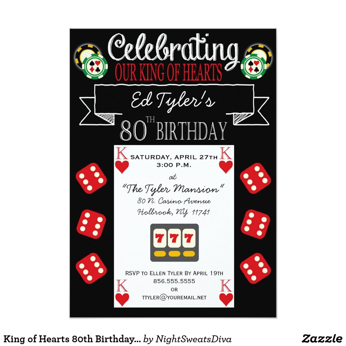 King of Hearts 80th Birthday Party Invitation   80 birthday, Party ...