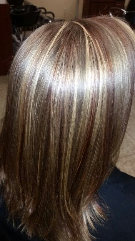 Blond and red highlights