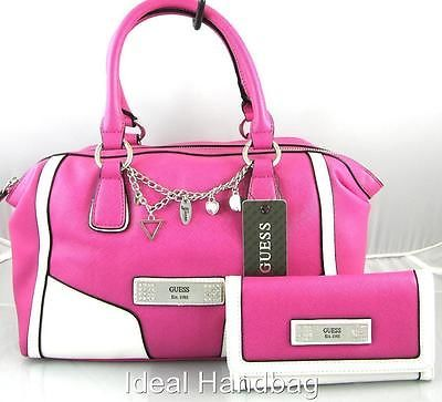 Authentic New Nwt Guess Senuri Crystal Pink White Satchel Bag Purse Wallet