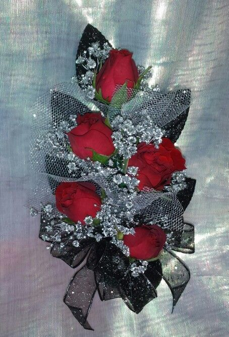 Red mini roses silver and black accents corsage | Corsages ...