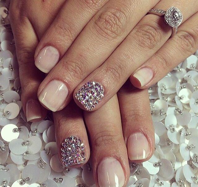 Plain Natural Nail Color With Ring Finger Bling Nail Design Nail