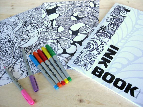 coloring book abstract ink fine art coloring book prints 50 pages drawing inkbook. $36.00, via Etsy.