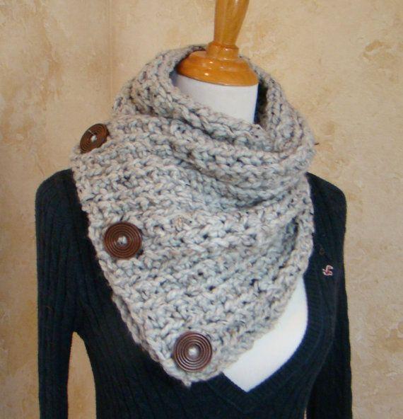 Boston Habor Style Scarf, 3 Button scarf, Grey Tweed Crochet Scarf ...