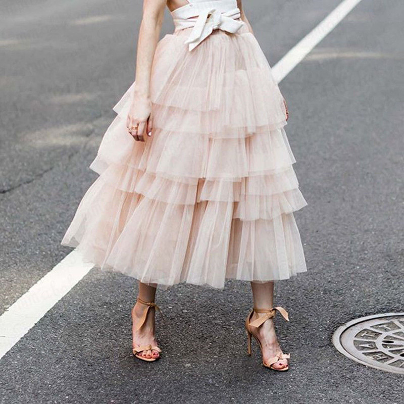 Chicwish Womens Nude Pink Tiered Layered Mesh Tulle Tutu