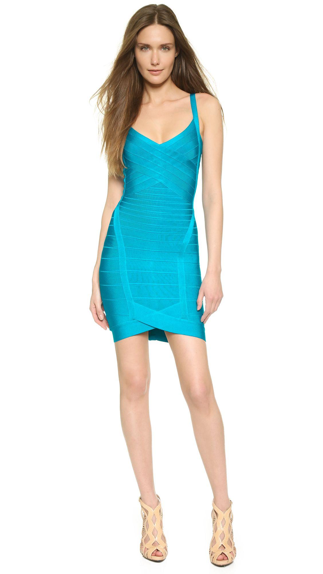 Herve leger bright turquoise blue kourtney dress dresses