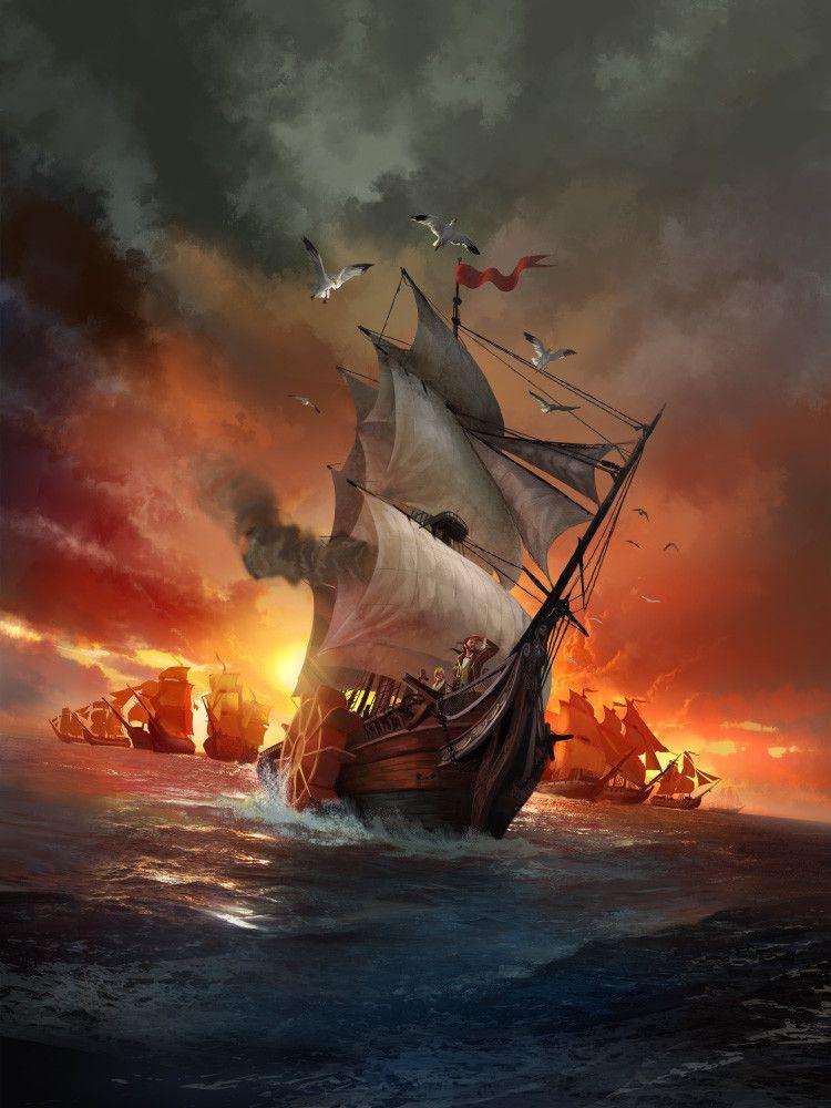 картинки пиратских парусников в шторм нужно