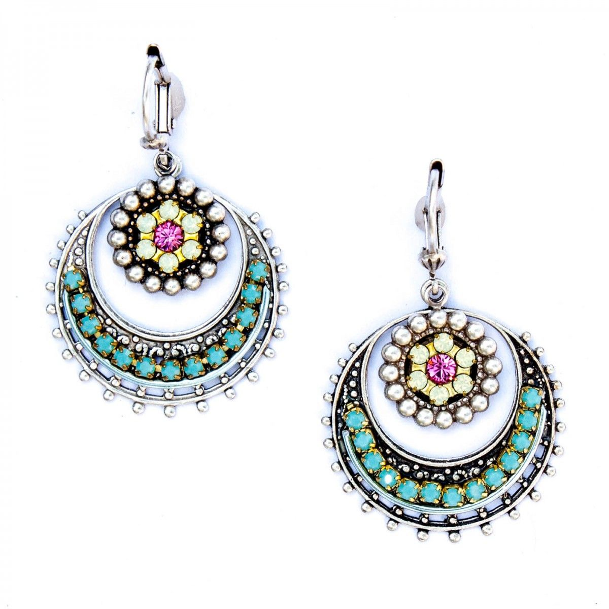 Clara Beau Turquoise And Silver Flower Hoop Earrings