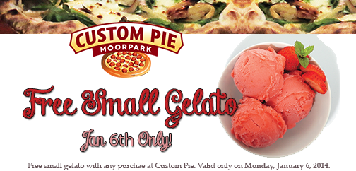 Don't miss out on our coupon for free gelato with any purchase, TODAY, 1/6/14 ONLY!