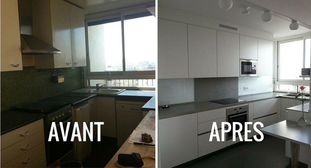 Avant / Après  Epurer et moderniser une petite cuisine des années 70