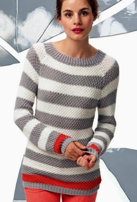 Вязать полосатый свитер
