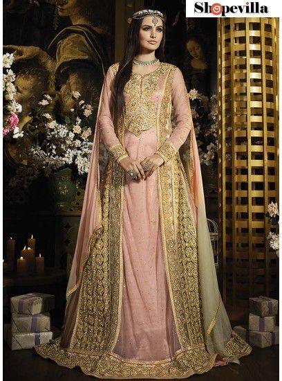Peach Colour Net Designer Bridal Wear Floor Touch Long Anarkali Style Suit-SYB-41