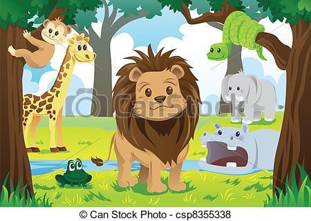 Free Jungle Animal Clip Art Vector Illustration Of Wild Jungle Animals In The Animal Kingdom Cartoon Drawings Of Animals Animal Kingdom Jungle Animals