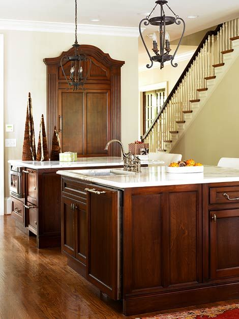 dark-stained maple cabinets with light countertops | Dark ... on Maple Kitchen Cabinets With Dark Wood Floors Dark Countertops  id=69257