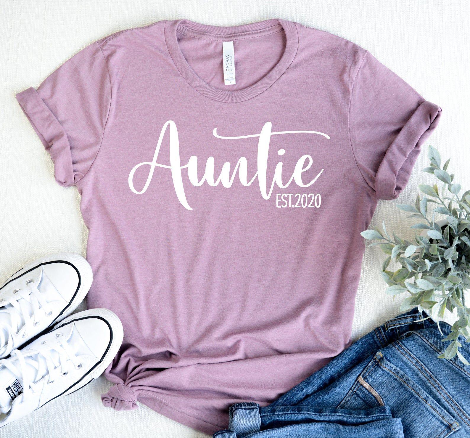 Auntie Est.2020 Shirt Best Auntie Ever T Shirt Aunt Shirt Aunt Gift Best Aunt Ever Shirts New Aunt Tops Shirt For Aunt