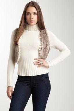 Smitten Faux Fur Trim Crocheted Vest