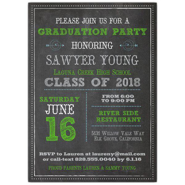 Chalkboard+Typography+Male+Graduation+Invitations