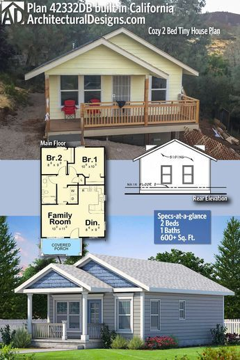 Plan 42332db Cozy 2 Bed Tiny House Plan Cottage House