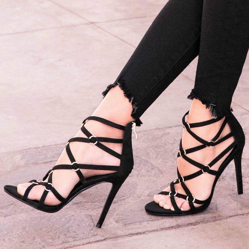 Metal Rings Strappy Sandal Heels | Sandals Heels | Pinterest ...