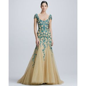 Monique Lhuillier Embroidered Tulle Gown In Green Forest Lyst